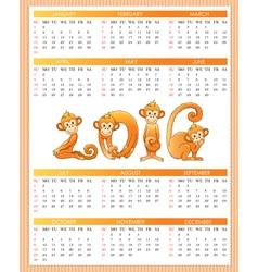 Calendar year monkey vector