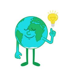 Cartoon character earth with idea vector