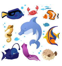 cartoon color different fish icons set vector image