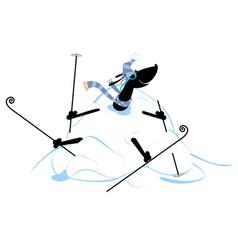 Cartoon dog skier and a big snowdrift vector