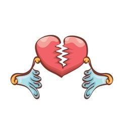 Cartoon style red broken heart vector