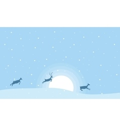 Christmas landscape reindeer on the hill vector image