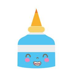 Colorful kawaii cute smile glue bottle vector