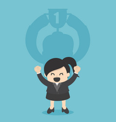 concept business businesswoman with the trophy vector image