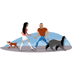 Couple Walking Dogs vector