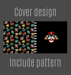 cover design with tribal masks pattern vector image