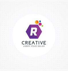 creative hexagonal letter r logo vector image