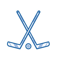 Crossed hockey sticks outline icon vector