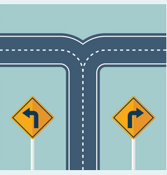 Crossroads with a road turn sign vector