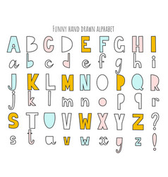 cute hand drawn alphabet letters set vector image