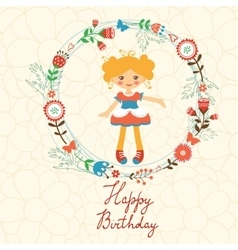 Cute Happy Birthday card with happy girl in floral vector image