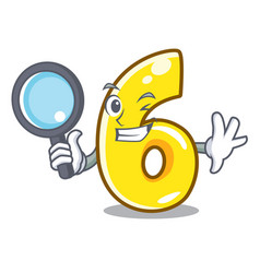 detective cartoon number six on the road vector image