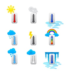 different thermometer icons set vector image
