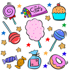 Doodle of various candy colorful vector