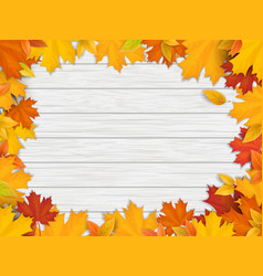 Fallen leaves on white wooden background vector