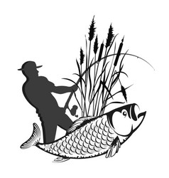 Fisherman in reeds and fish vector