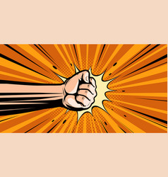 Fist pop art retro comic style punch cartoon vector