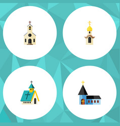 Flat icon church set of christian building vector