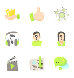 Friendship in network icons set cartoon style vector