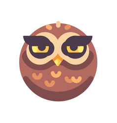 funny sleepy brown owl face flat icon vector image