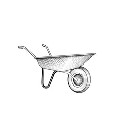garden cart wheelbarrow engraving gardening sign vector image