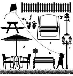 Garden yard field park outdoor child a garden vector