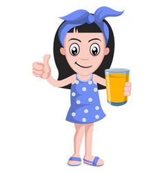 girl with orange juice on white background vector image