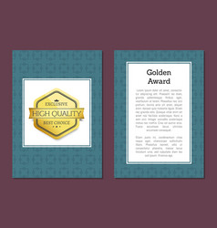 golden award poster with emblem high quality label vector image