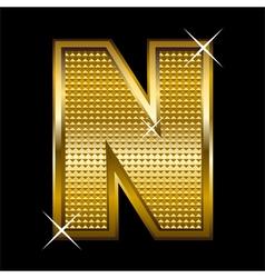 Golden font type letter N vector