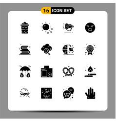 Group 16 modern solid glyphs set for books vector