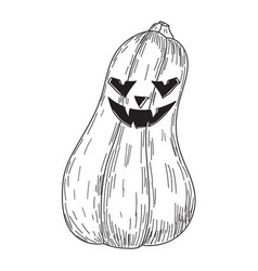 halloween pumpkin with evil scary smile in funny vector image