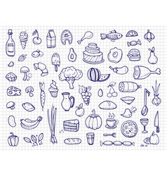 Hand drawn food vegetables drinks snacks fast vector