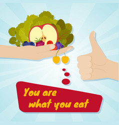 hand giving healthy eating food choice concept vector image