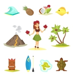 Hawaii icons and girl vector