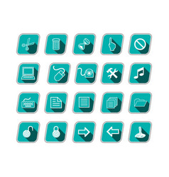 Icon set with computer symbols green skew icons vector