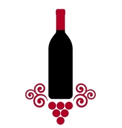 Isolated wine bottle with decorative grape vector