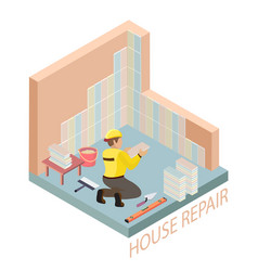 isometric interior repairs concept tiler is tying vector image