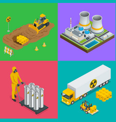Isometric radioactive waste elements vector