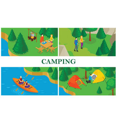 isometric summer tourism colorful composition vector image