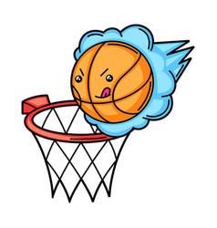 kawaii basketball basket and ball vector image