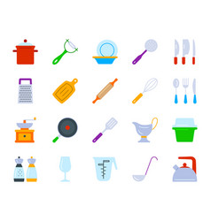 Kitchenware simple flat color icons set vector