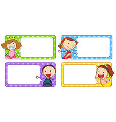 Label designs with boy and girl vector image