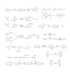 Large set of basic chemical reaction equations and vector image