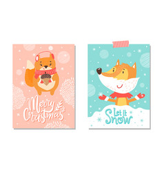 let it snow merry christmas on vector image