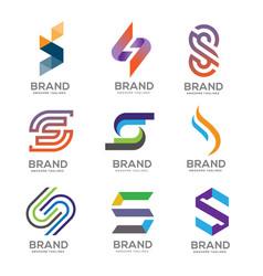 letter s logo template design logo set vector image