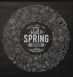 line art hand drawn set spring cartoon vector image