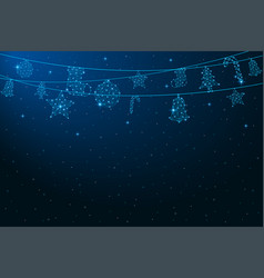 low poly hanging christmas decorations vector image
