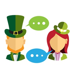 Male and female leprechauns icons vector image