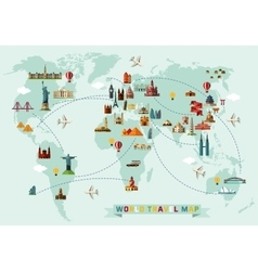 Map world and travel icons vector