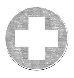 medical cross hand draw vintage style black vector image